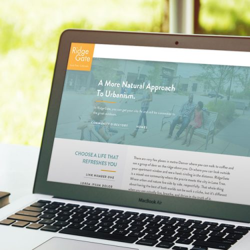 Responsive homepage web design for Ridgegate CO